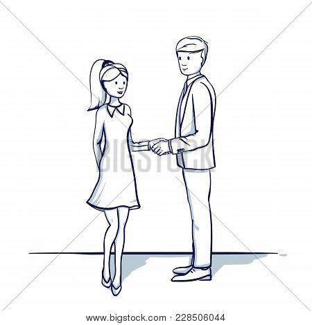 Young Business People: A Man And A Woman Are Shaking Hands. Handshake. Hand Drawn Doodle Cartoon Vec