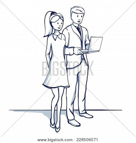Young Business People: A Man And A Woman Are Discussing The Business Process. Hold The Laptop In The