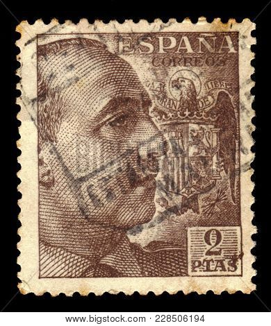 Spain - Circa 1940: A Stamp Printed In Spain Shows Portrait Of General Francisco Franco, Ruled Over