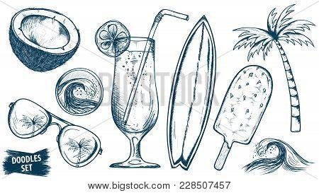 Summer Travel Sketches Set. Coconut. Coctail. Sunglasses. Palm. Ice Cream. Tropical Doodles. Tourism