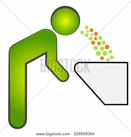 Cough Vector Icon. Style Is Bicolor Flat Symbol, Eco Green And Gray Colors, Rounded Angles, White Ba