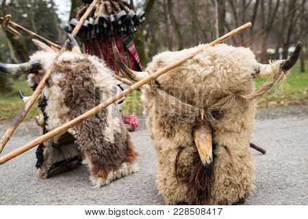 Traditional Kukeri Mask From A Masquerade Festival In Yambol, Bulgaria