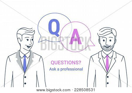 Consulting Business Advise. Smiling Businessman And Consultant Talking With Speech Bubbles And Lette