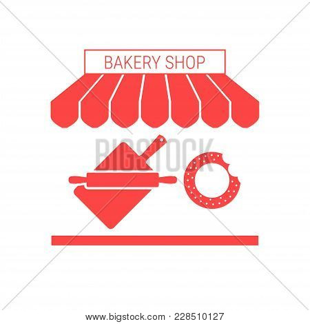 Bakery Shop, Bakehouse Single Flat Icon. Striped Awning And Signboard. A Series Of Shop Icons. Vecto