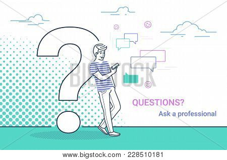 Young Man Standing Near Big Question Symbol And Using Smartphone For Texting To Live Chat, Asking He