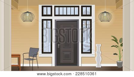Illustration Of The Entrance Door Of A Country House In The Interior. Illustration Home