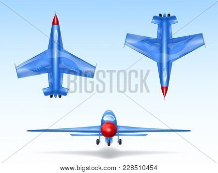 Vector Set Of Military Aircrafts, Fighter Jets. Combat Plane In Different Views, Aviation, Air Vehic