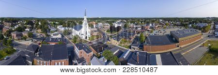 Woburn First Congregational Church Panorama Aerial View In Downtown Woburn, Massachusetts, Usa.