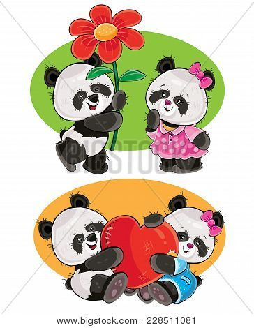 Vector Cartoon Set With A Couple Of Panda Bears In Love, With Soft Red Heart And With Flower Isolate