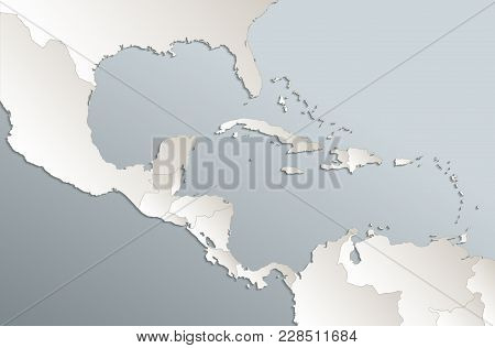 Caribbean Islands, Central America Map,  Separate States, Card Blue White 3d Raster Blank