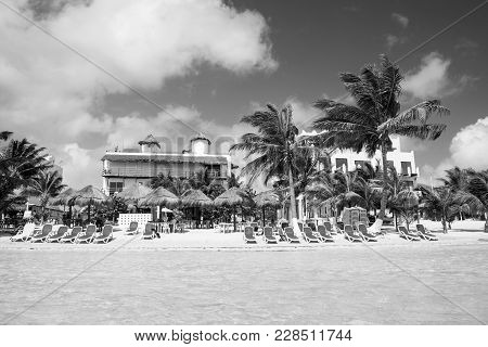 Costa Maya, Mexico-february 2, 2017: Tropical Summer Vacation Beach With Sea Or Ocean Water Green Pa
