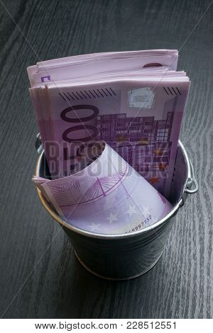 A Full Bucket Of 500 Euro Cash Notes Money