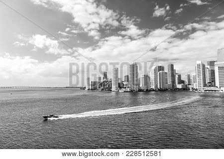 Aerial View Of Miami Waterfront Skyline Downtown At Sunny Day. Floridaspeedboat Sailing Next To Port