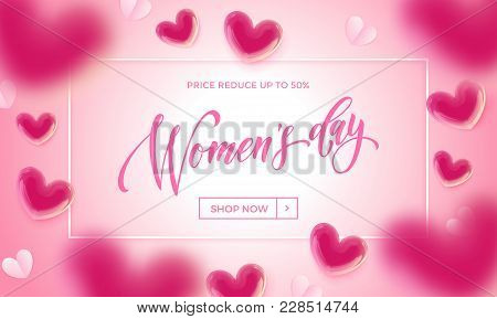 Women's Day Sale Banner With Ballon Heart Background. Vector 8 March Sale Poster For Mother's Day Sa