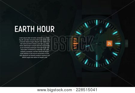 Vector Card, Banner. The Wrist Watch In The Dark Glows Due To Luminescent Backlight. Orange Color In
