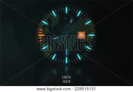 Vector Card, Banner. The Clock In The Dark Glows Due To Luminescent Backlight. Orange Color Indicate
