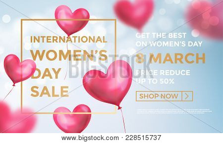 Women's Day Sale Web Banner Of Red Heart Balloons In Light Shine On Blue Background. Vector Women's