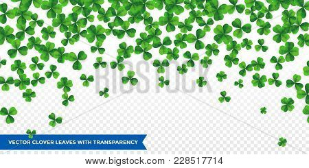 Patrick Day Background With Vector Four-leaf Clover Pattern Background. Lucky Fower-leafed Green Bac