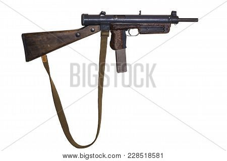 Vintage Submachine Gun With Canvas Belt On White Background