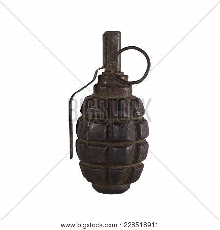 Old Rusty Training Hand Grenade Isolated On White Background