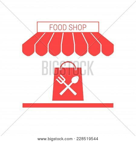Food Shop, Grocery Store Single Flat Vector Icon. Striped Awning And Signboard. A Series Of Shop Ico