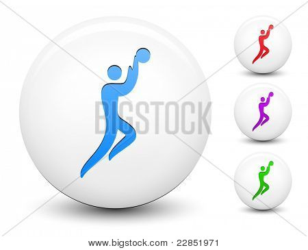 Basketball Icon on Round White Button Collection Original Illustration poster