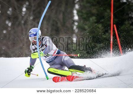 Zagreb, Croatia - January 4, 2018 : Grange Jean Baptiste Of Fra Competes During The Audi Fis Alpine