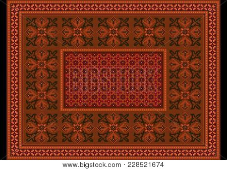 Luxurious Terracotta Carpet With Ethnic Ornaments And  Burgundy Patterns On In The Center