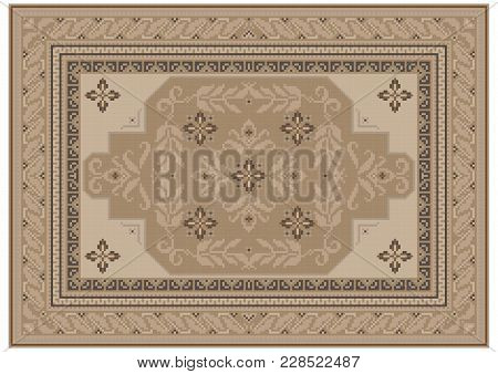 Luxurious Carpet Design With Ethnic Ornament Of Beige Shades And A Floral Pattern In Light Brown Sha