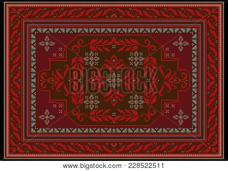 Carpet Design With Ethnic Ornament Of Red And Burgundy Shades And Red Floral Pattern On Brown On The