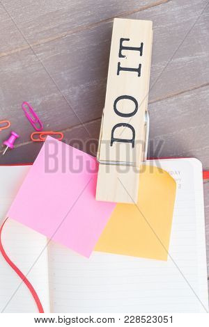 To Do List - Orange And Pink Paper Sticky Notes With Do It Pin