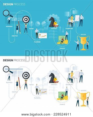 Flat Design Style Web Banners Of Design Process. Vector Illustration Concept For Creative Process, D