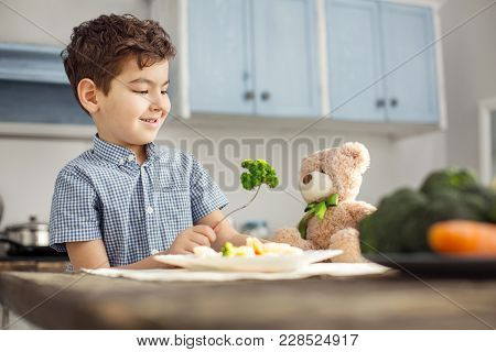 Nutrient-enriched Food. Handsome Joyful Dark-haired Little Boy Smiling And Feeding His Toy With Heal