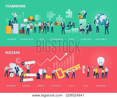 Flat Design Style Web Banners Of Teamwork And Success. Vector Illustration Concepts For Business Wor