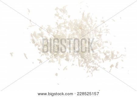Heap Of Coconut Flakes Isolated On White Background.