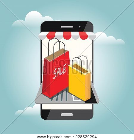 Online Mobile Shop Store Sale Delivery Shopping Concept.