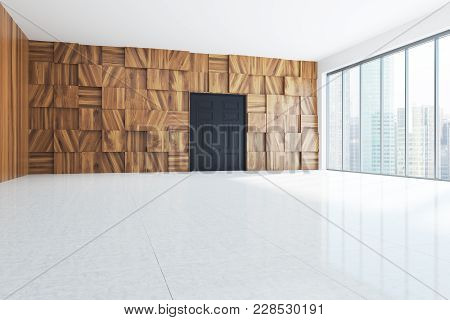 Empty Room Interior With Wooden Walls, Loft Windows, A Concrete Floor And A Wide Back Door. 3d Rende