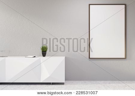 White Original Reception Desk With A Potted Plant Standing In An Empty Room With White Walls And A C