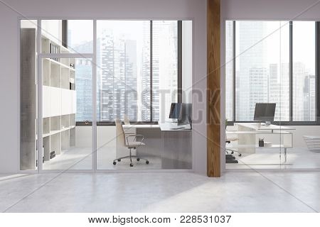 White And Glass Office Interior With A Concrete Floor, Panoramic Windows And White Tables With Chair