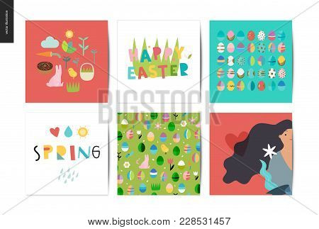 Set Of Easter And Spring Postcards - 6 Postcards With Traditional Elements