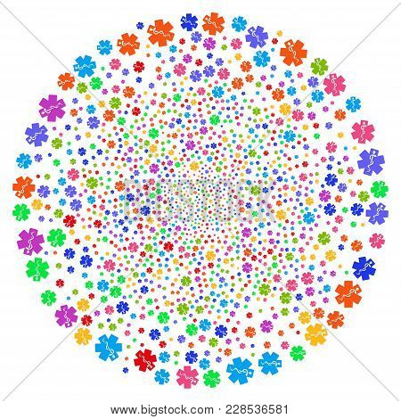 Multicolored Life Star Cycle Bang. Hypnotic Whirlpool Combined With Scattered Life Star Objects. Vec