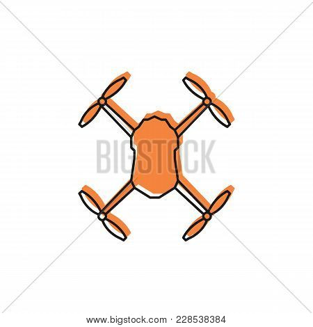 Drone Icon In Doodle Color Style. Drone Object Pictogram Graphic For Web Design. Doodle New Technolo