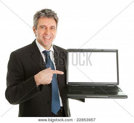 Business man presenting laptopn