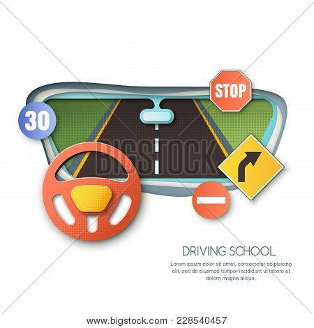 Vector Driving School Concept. Road, Car Steering Wheel, Traffic Signs Paper Cut Illustration. View