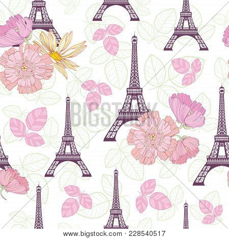 Vector Spring Purple Pink Eifel Tower Paris and Roses Flowers Seamless Repeat Pattern Surrounded By St Valentines Day Hearts Of Love. Perfect for travel themed postcards, greeting cards. poster