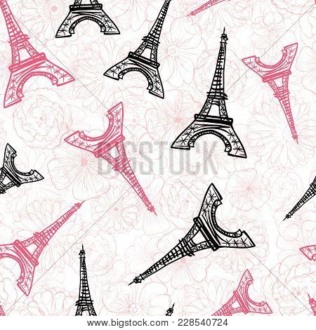 Vector Black Pink Eifel Tower Paris And Roses Flowers Seamless Repeat Pattern Surrounded By St Valen