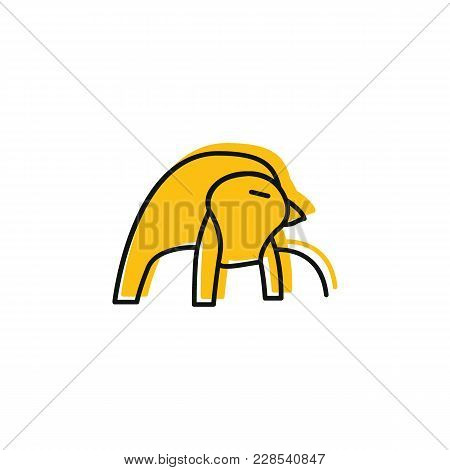 Egyptian God Ra Icon In Doodle Style. Egypt God Ra Object Vector Illustration Isolated On White Back