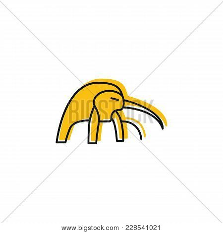 Egyptian God Tot Icon In Doodle Style. Egypt God Tot Object Vector Illustration Isolated On White Ba