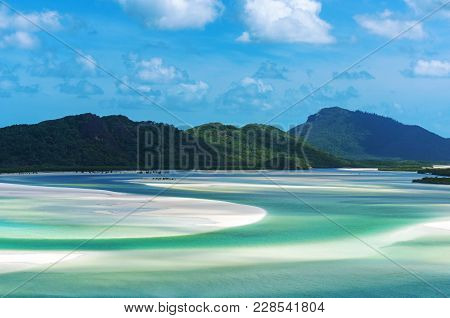 Aerial View Of Hill Inlet Estuary At Low Tide. Beautiful Tropical Landscape Background. Whitsunday I