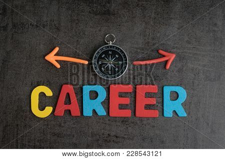Company Career Path Opportunities Concept By Colorful Wooden Alphabets As Word Career And Compass Wi